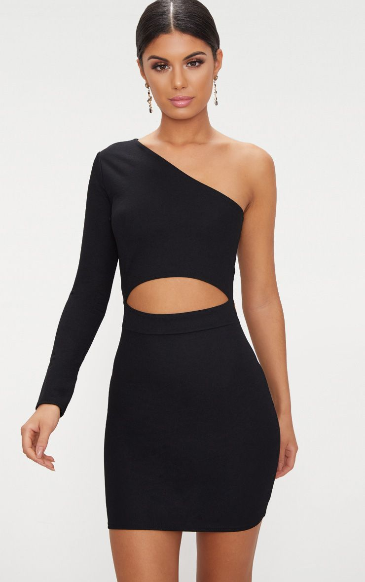 Black Asymmetric Cut Out Detail Bodycon Dress