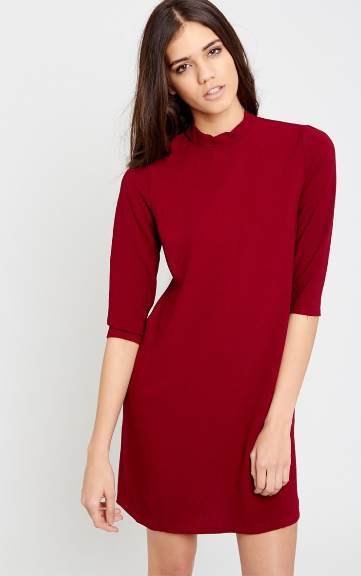 Nuna Berry Crepe Turtle Neck Shift Dress 1