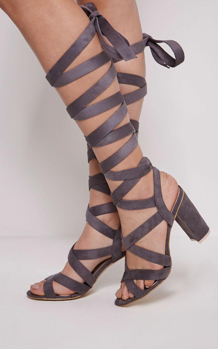Effie Grey Faux Suede Wrap Gladiator Sandals 1