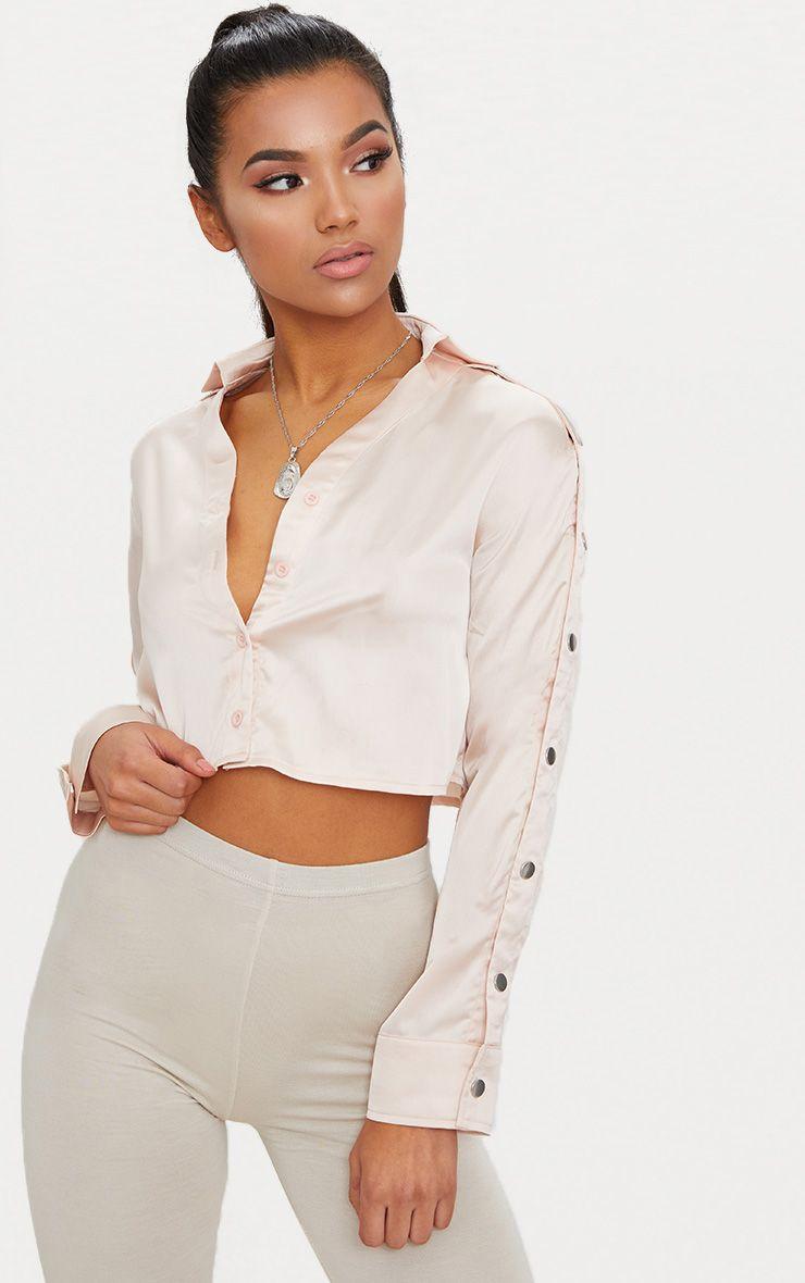 Blush Satin Popper Sleeve Crop Shirt