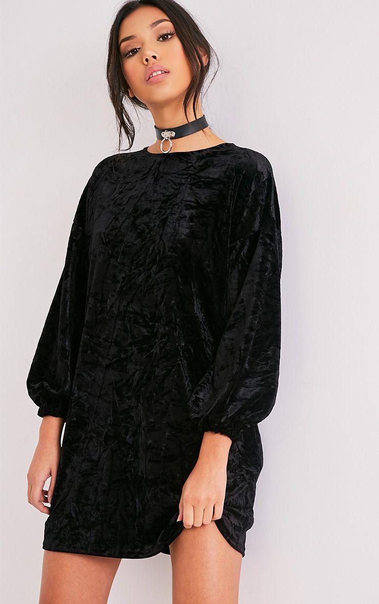Reni Black Crushed Velvet Oversized Shift Dress