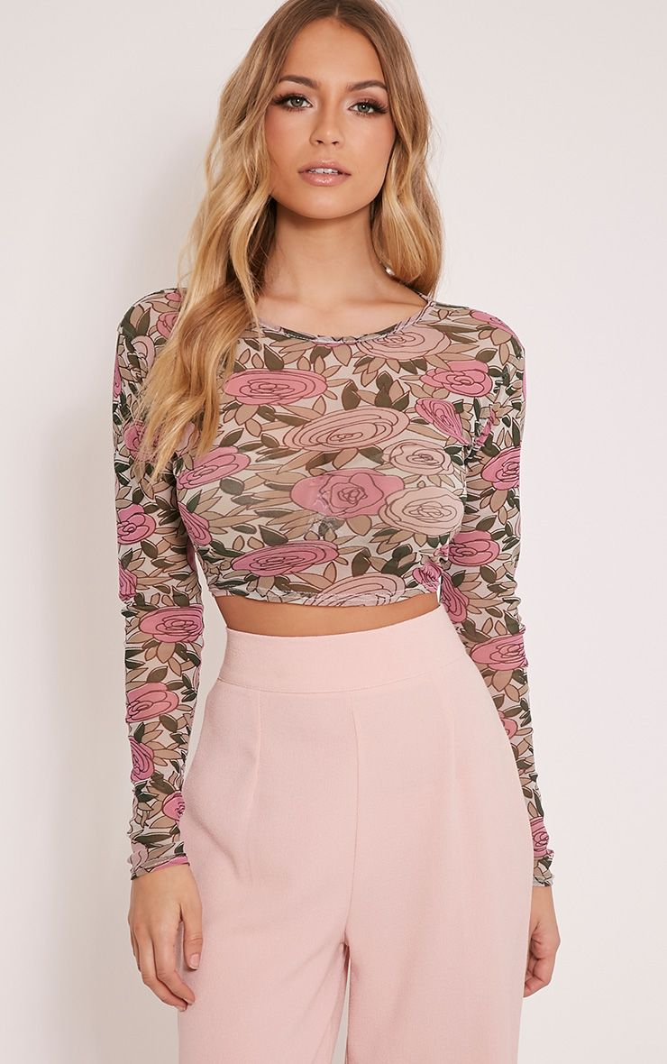 Denon Pink Floral Mesh Long Sleeve Crop Top 1