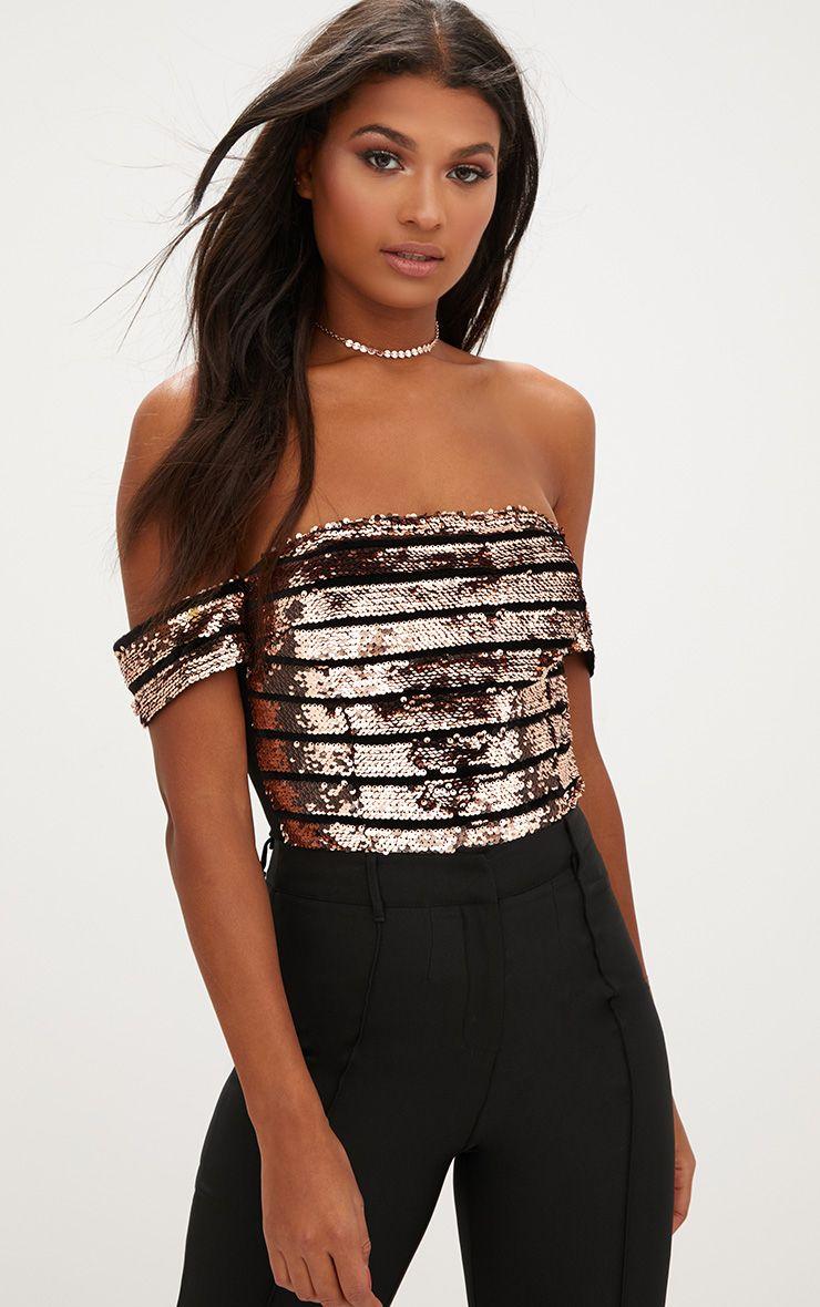 Bronze Stripe Sequin Bardot Thong Bodysuit