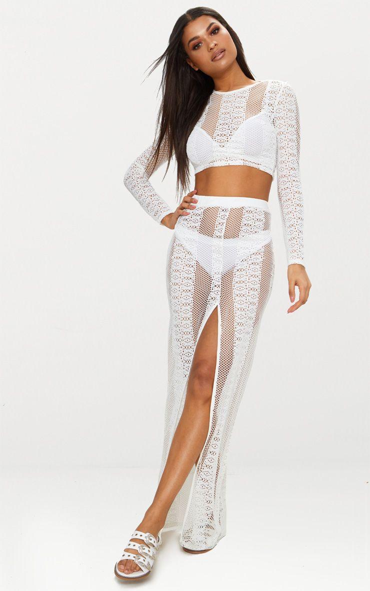 Cream Lace Split Maxi Skirt