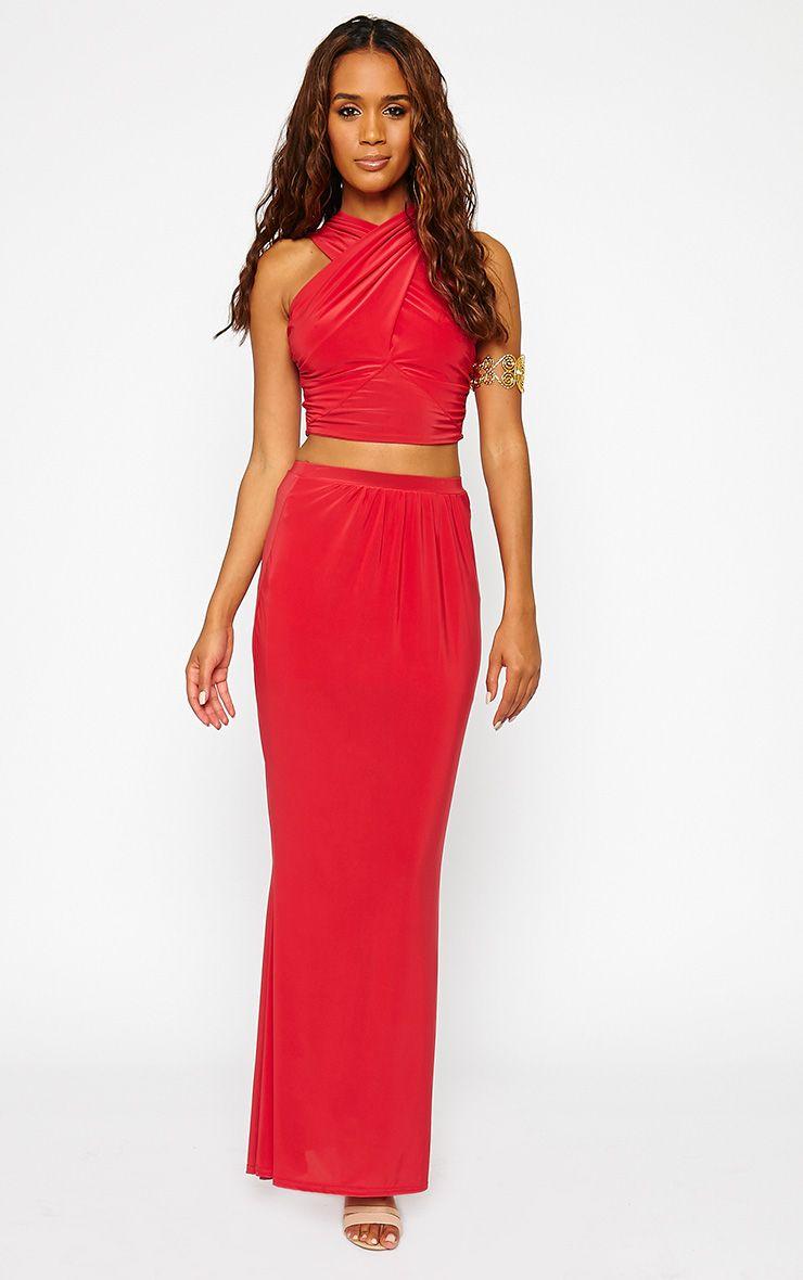 Dalia Red Maxi Skirt 1