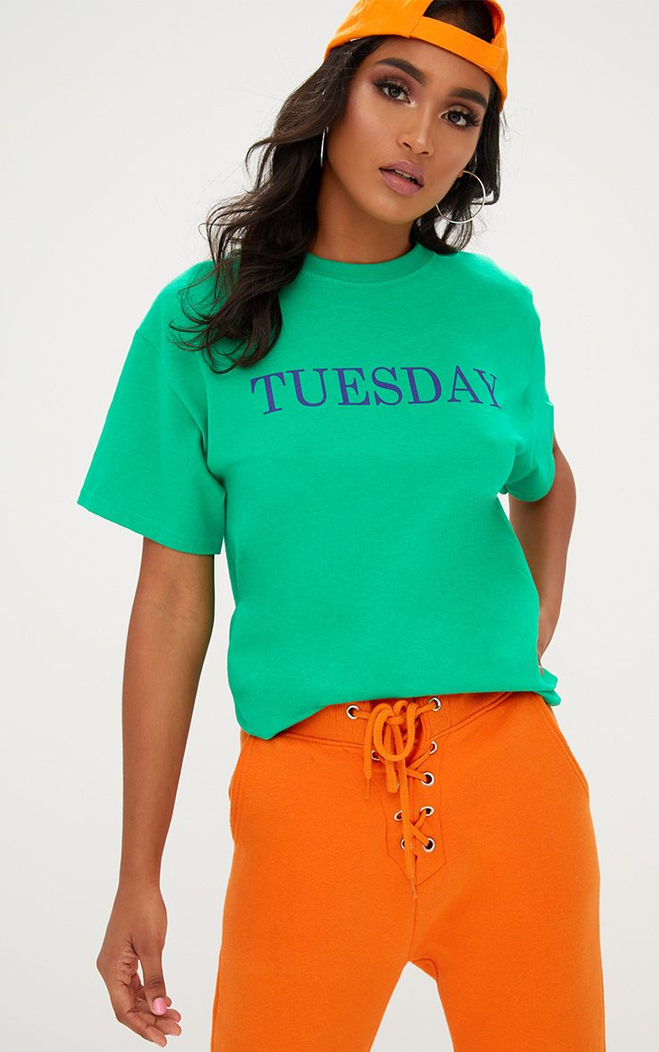 Green TUESDAY Slogan T Shirt