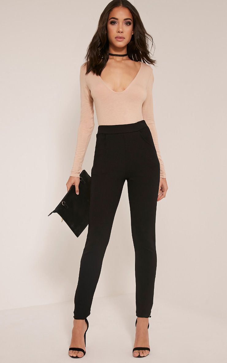 Sage Black Crepe Cigarette Trousers