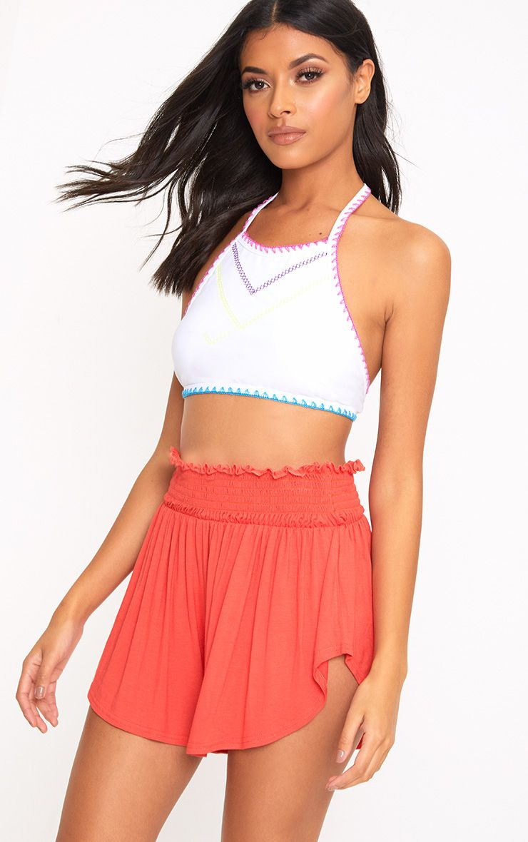 Orange Ruched Waist Floaty Shorts