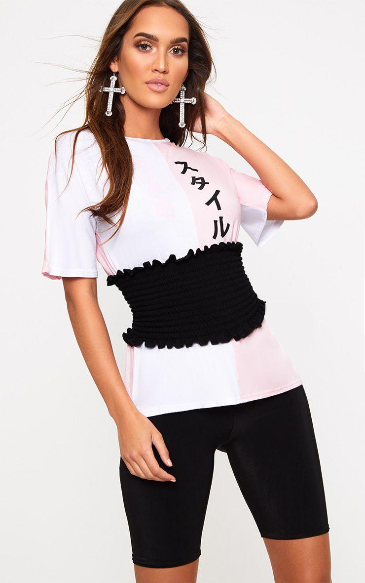 Pink Spliced Print Corset T Shirt