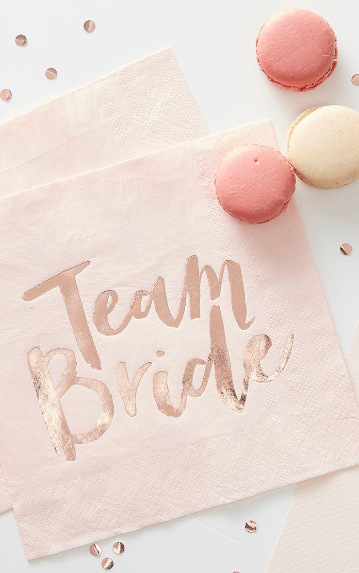 20 Pack Rose gold 'Team Bride' Paper Napkins