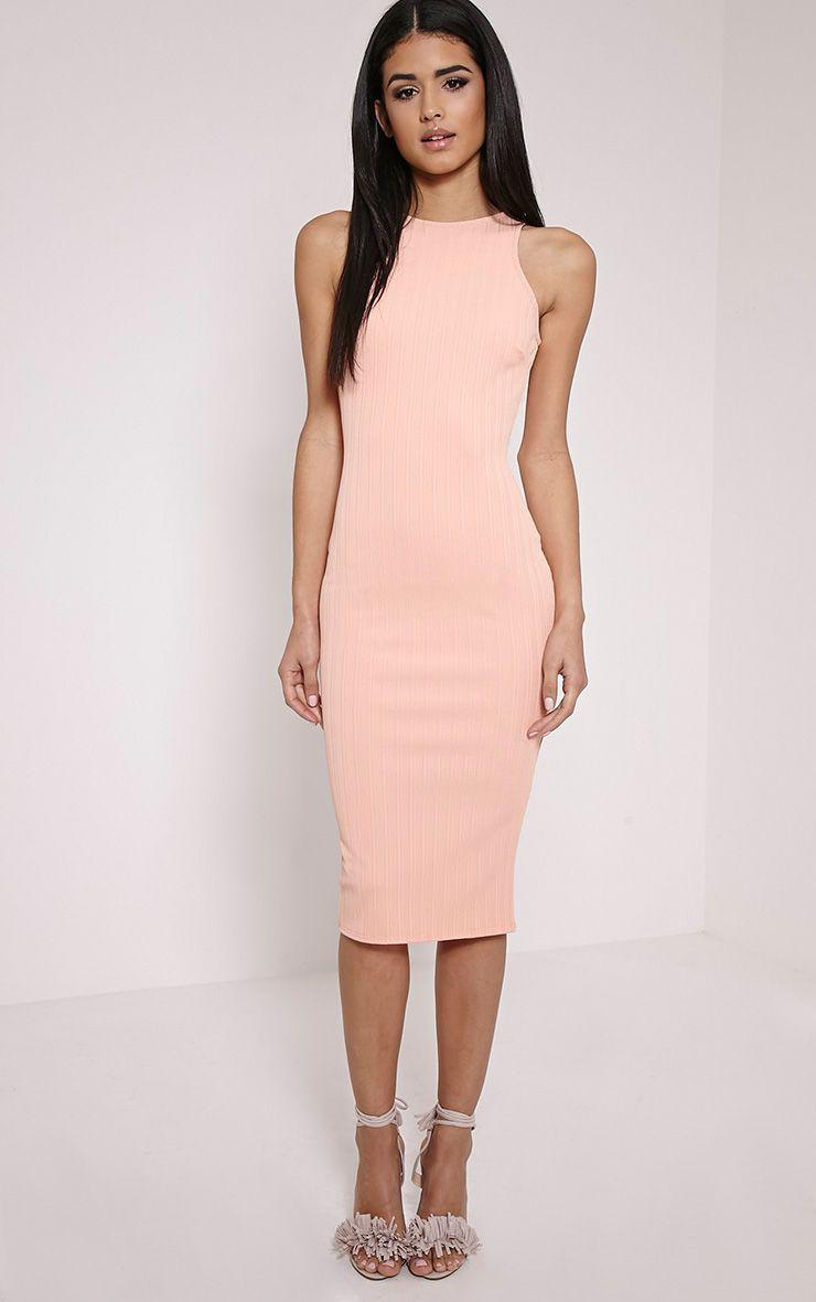 Jazmine Peach Ribbed Midi Dress 1