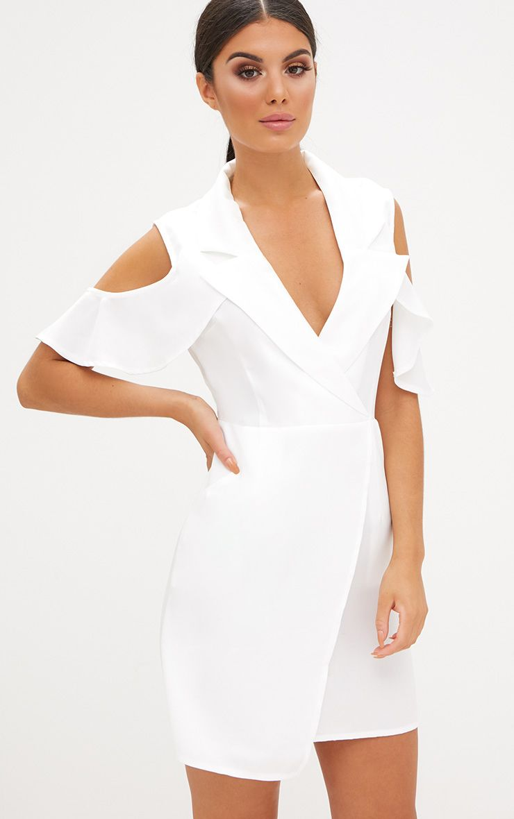 White Cold Shoulder Wrap Over Blazer Dress
