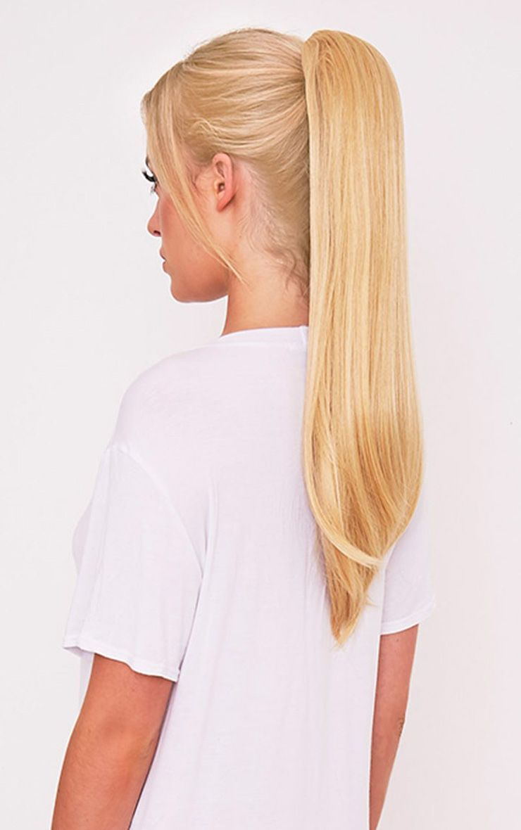 Golden Blonde Clip In Straight Ponytail