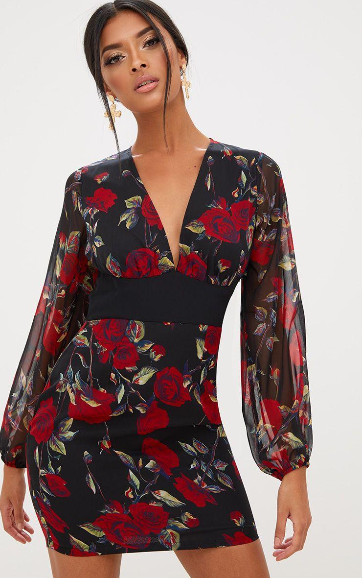 Black Floral Chiffon Bodycon Dress