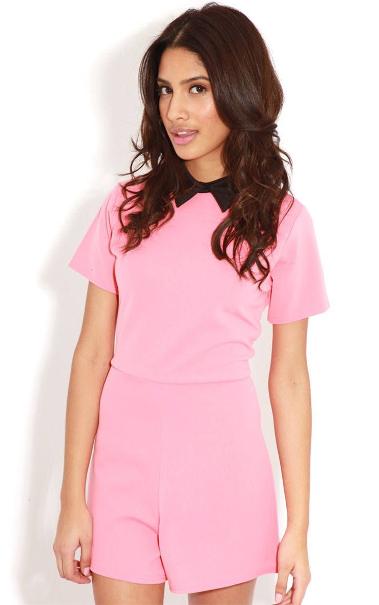 Edie Pink Playsuit With Black Collar Detail-S/M 1