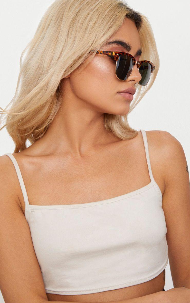 Brown Tortoiseshell Half Lens Aviator Sunglasses 1