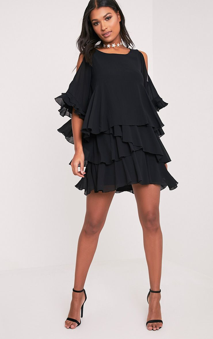 Tessa Black Cold Shoulder Ruffle Swing Dress