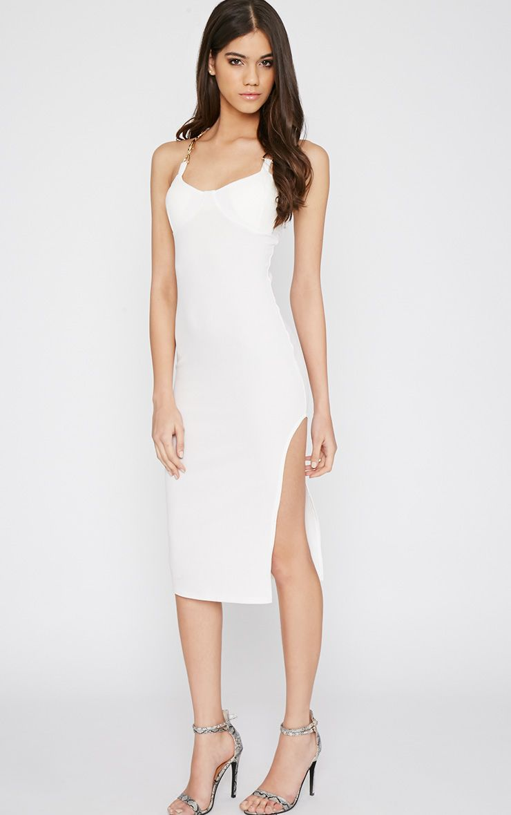 Tyler White Chain Strap Bodycon Dress 1