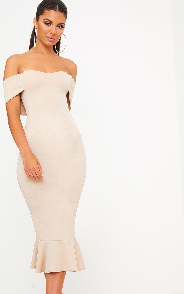 Nude Bardot Frill Hem Midi Dress