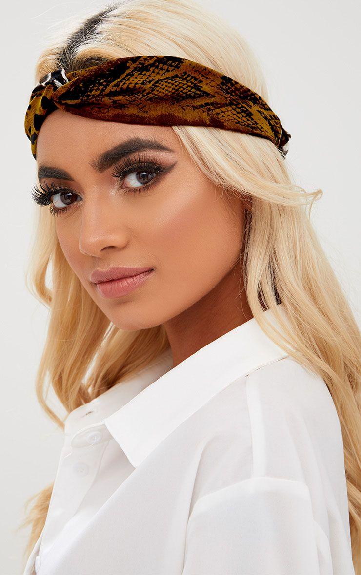 Khaki Mixed Print Tie Headband