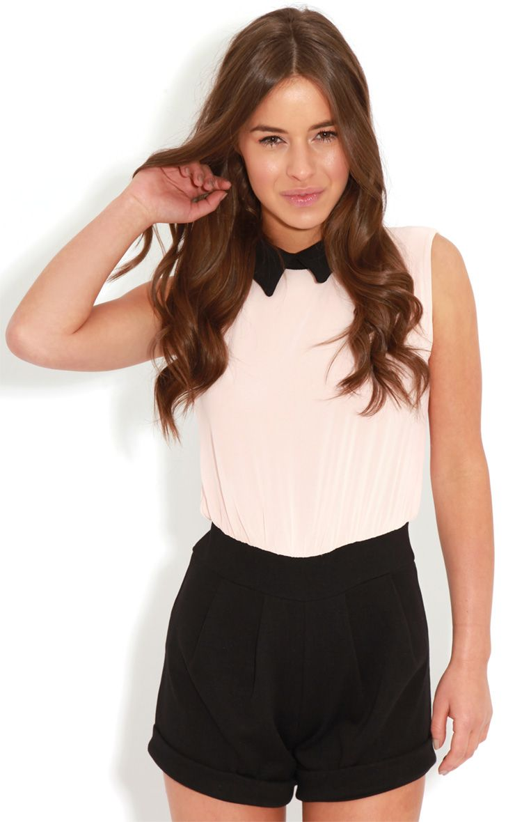 Xander Pink Chiffon Collar Playsuit 1