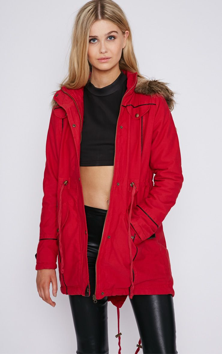 Chiara Red Parka With Fur Hood  1
