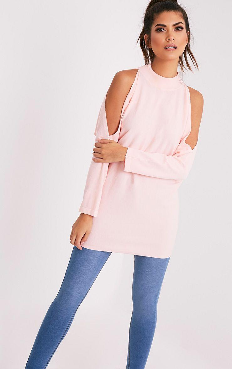 Shela pull rose pâle tricoté fin à épaules découvertes 1