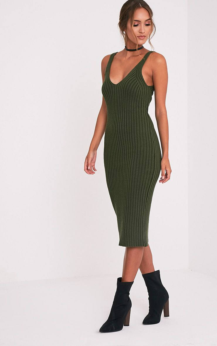 Nimah Khaki Ribbed Vest Knitted Midi Dress 1