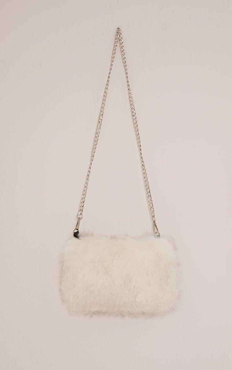 Christah White Faux Fur Chain Shoulder Bag