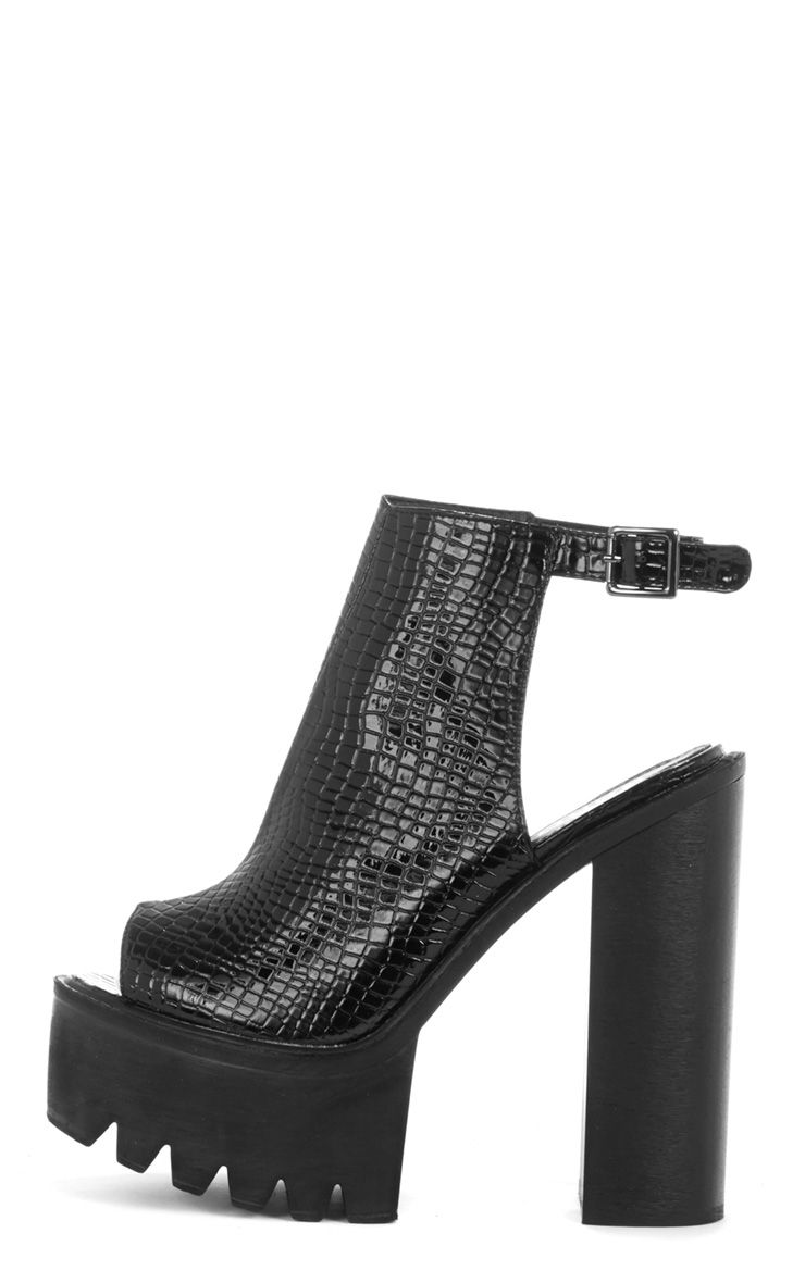 Carmen Crocodile Black Sling Back Cleated Sole Shoes 1