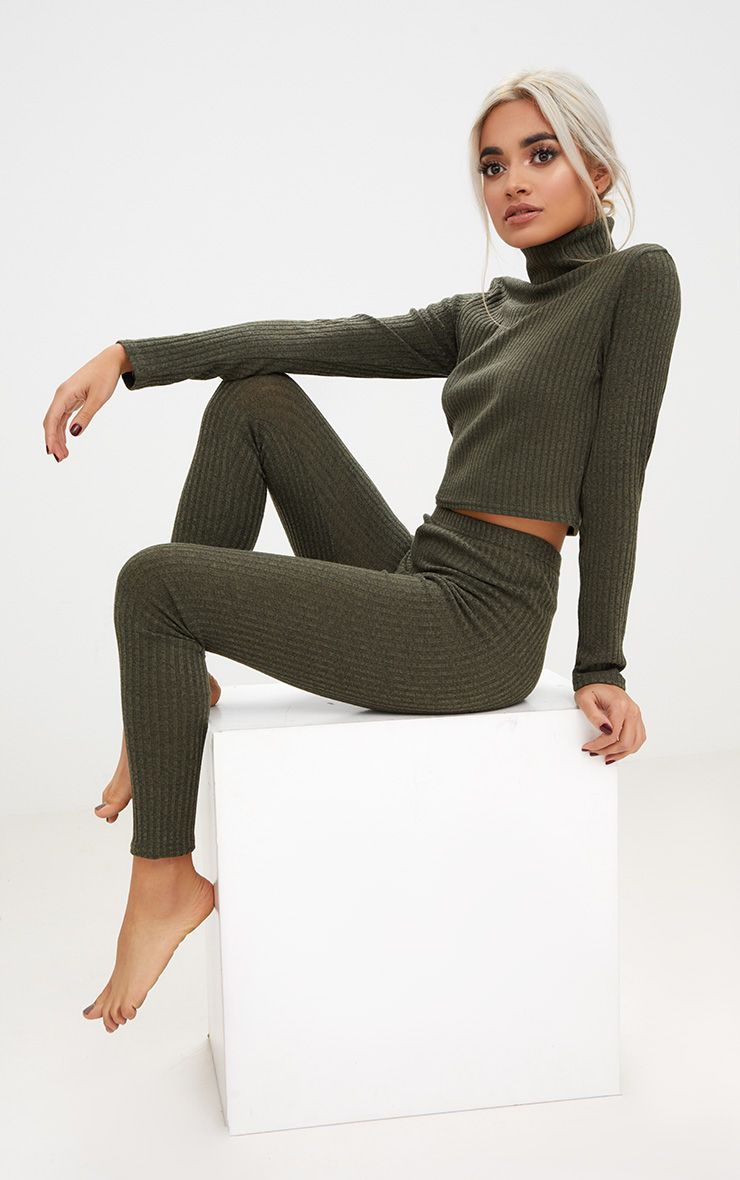 Khaki Rib Roll Neck Legging Set