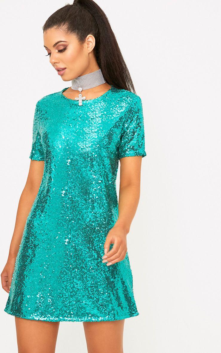 Tanaya Green Short Sleeve Sequin T-Shirt Dress