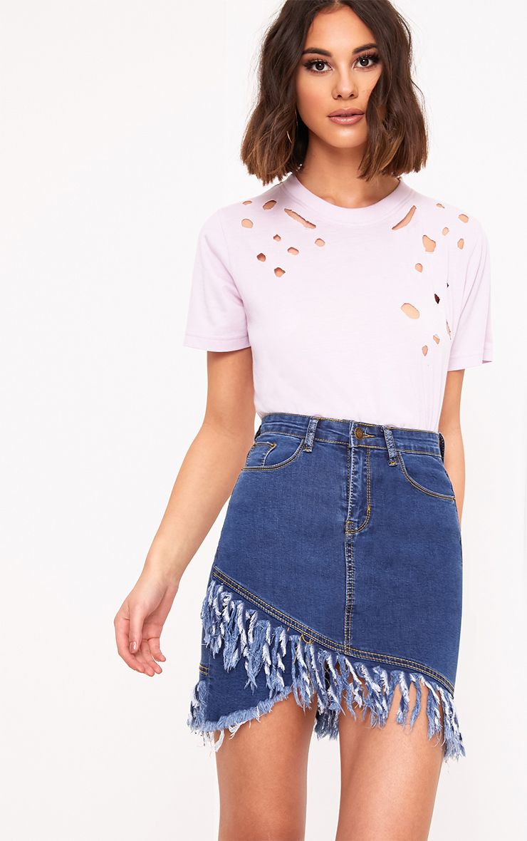 Mid Wash Fringe Hem Denim Mini Skirt