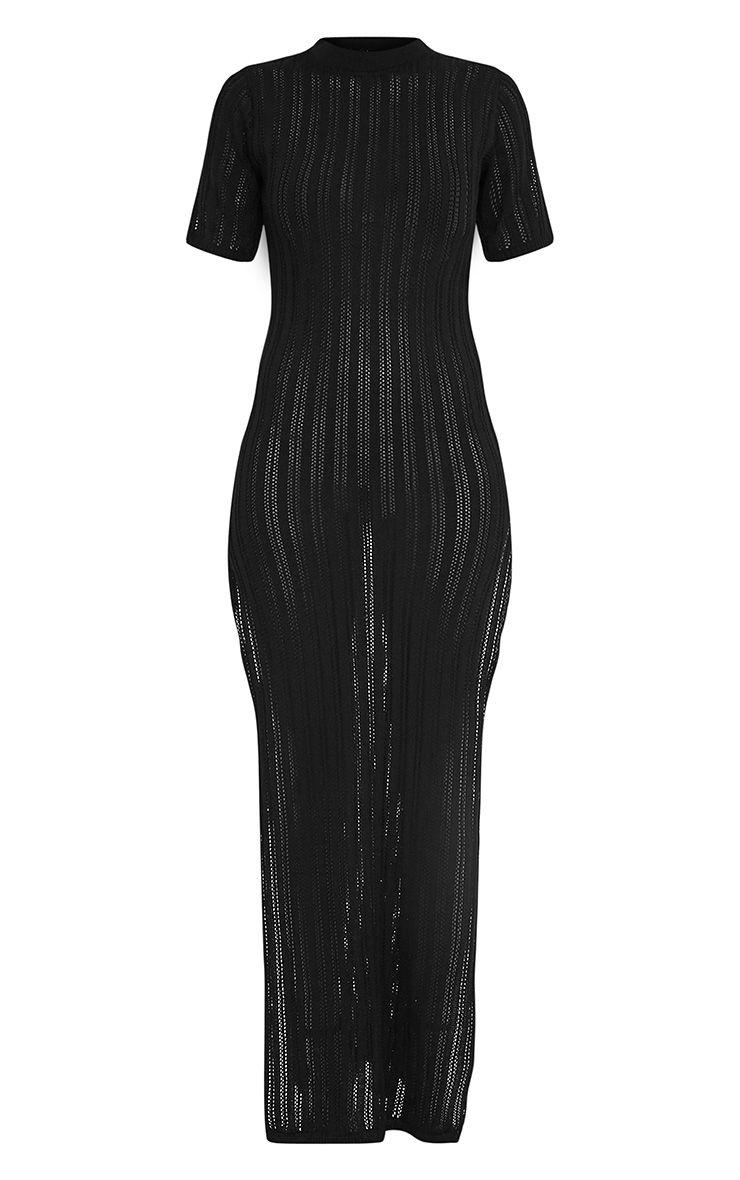 Zaria robe maxi tricotée à rayures noire 4