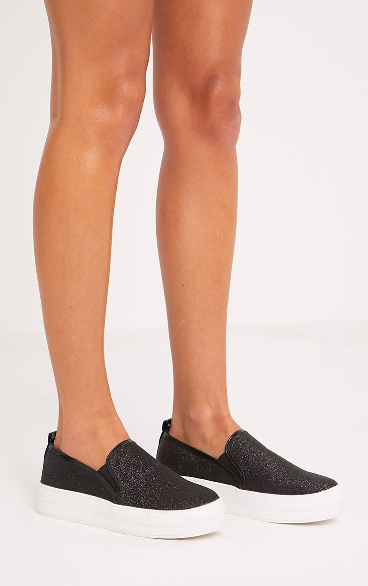 Helda Black Glitter Flatform Slip On Trainers