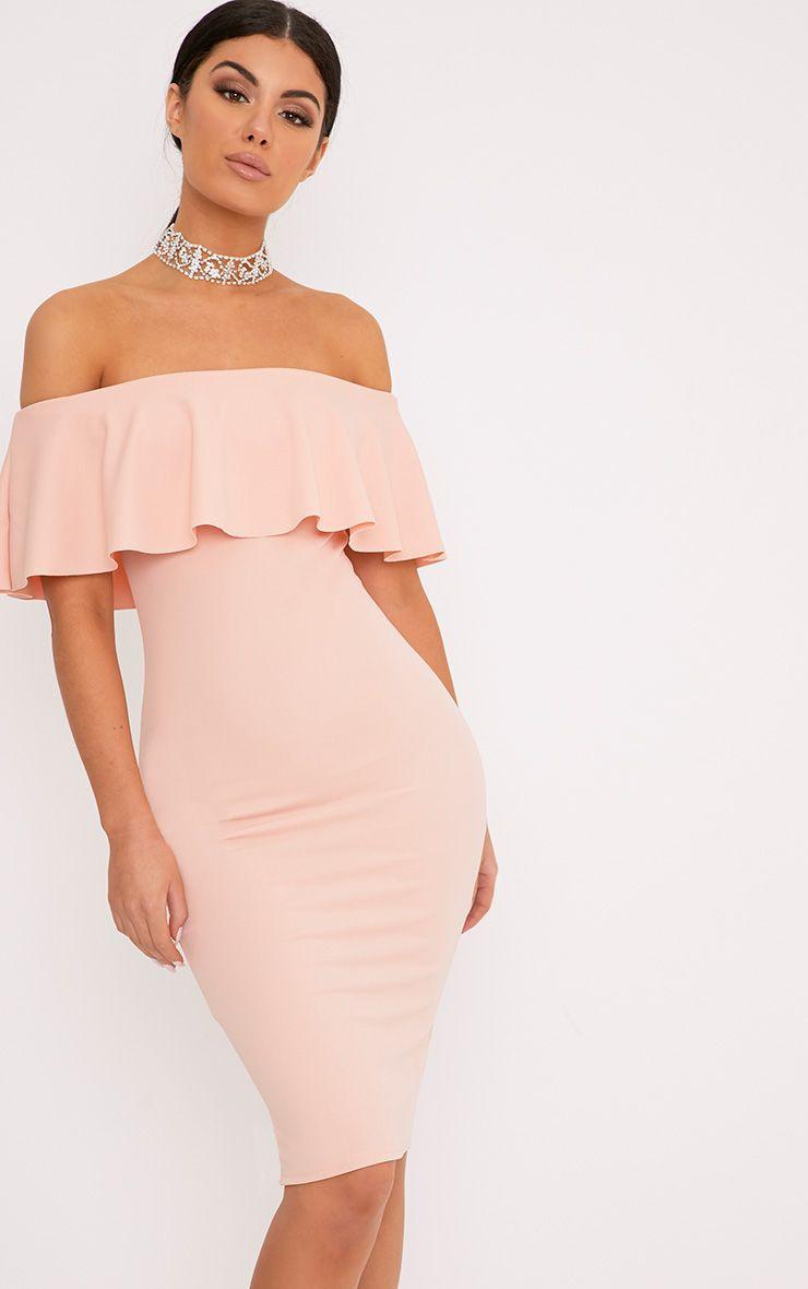 Celinea Blush Bardot Frill Midi Dress