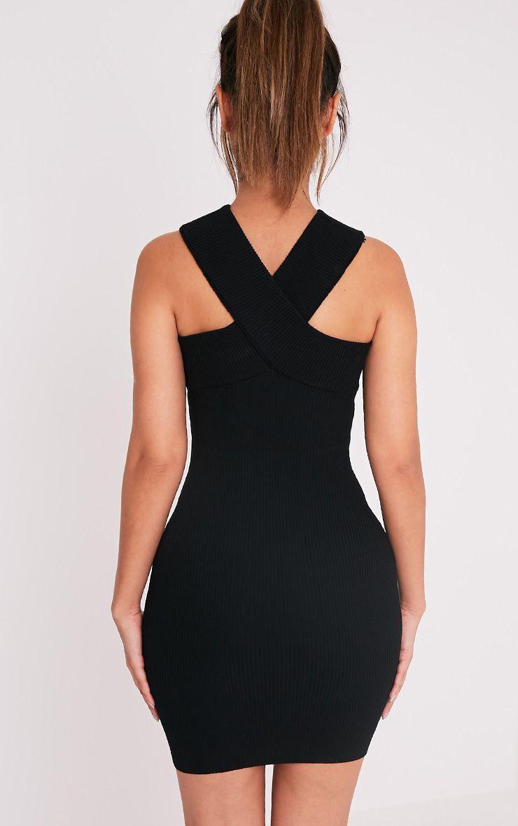 Aramiah Black Ribbed Knit Body Con Mini Dress 2