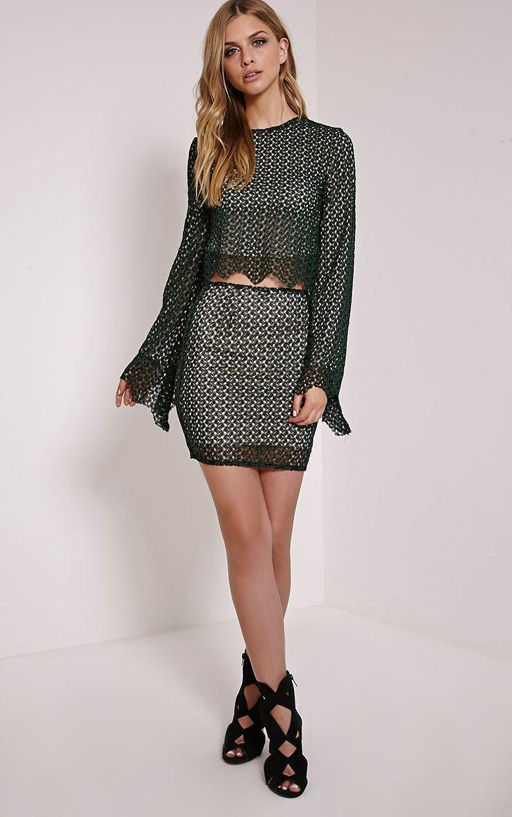 Elise Green Crochet Scallop Hem Mini Skirt 1