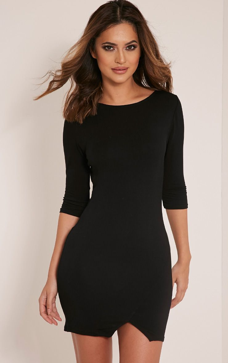 Basic Black Scoop Back V Hem Dress