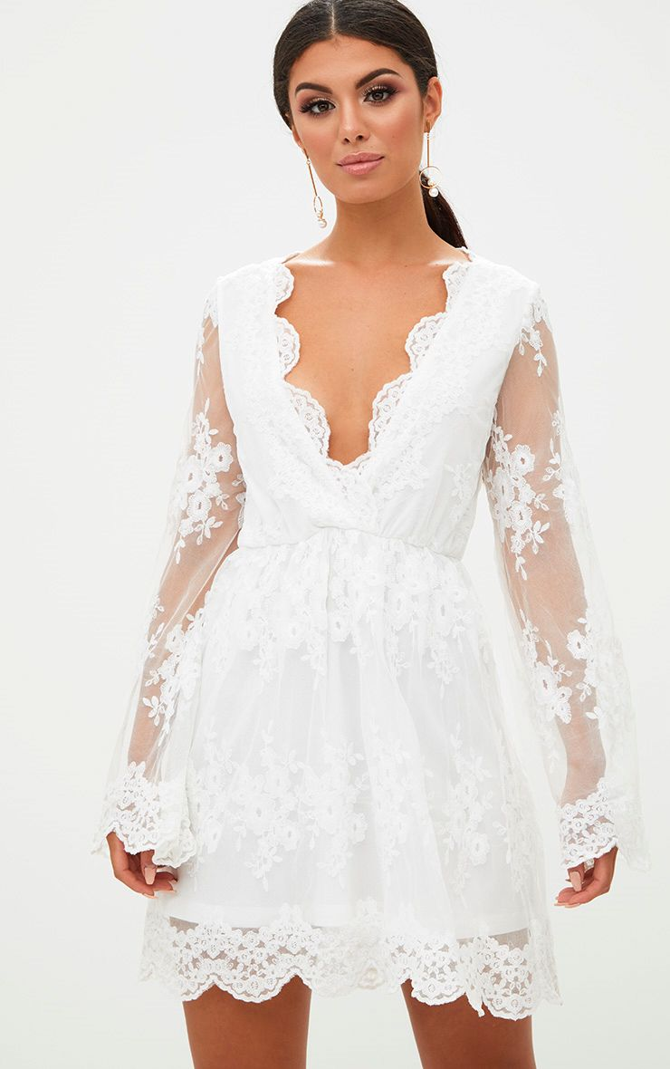 White Lace Plunge Bell Sleeve Skater Dress