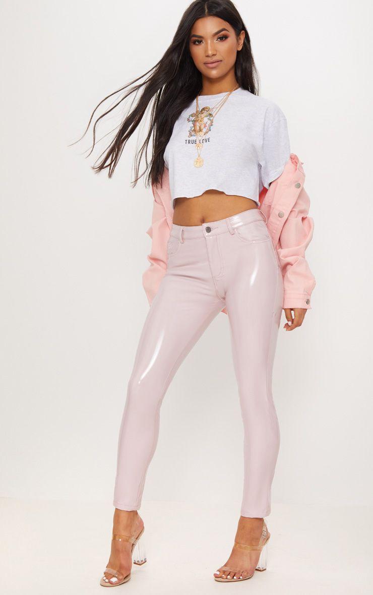Baby Pink Vinyl Skinny Jean