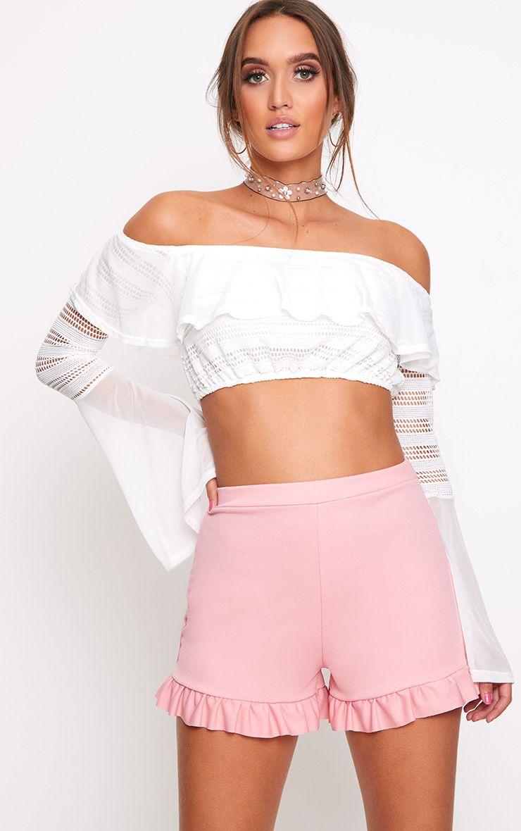 Rose Frill Hem Shorts