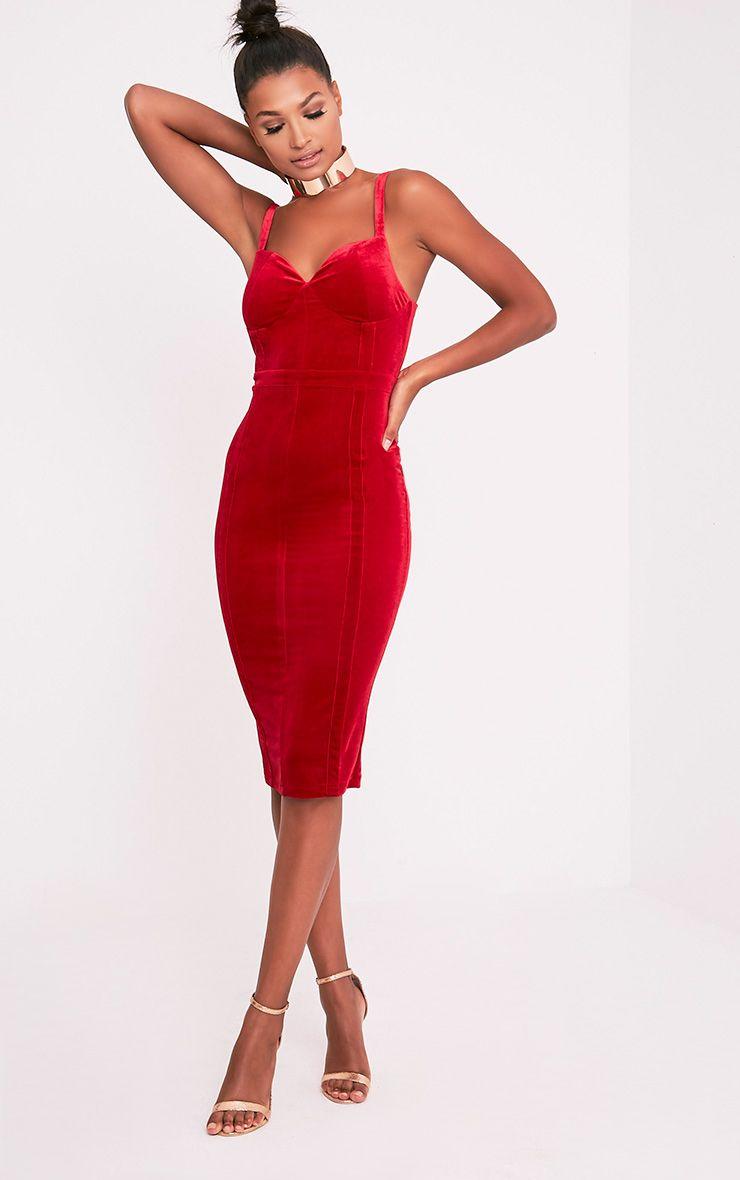 Garcia Red Velvet Panel Midi Dress