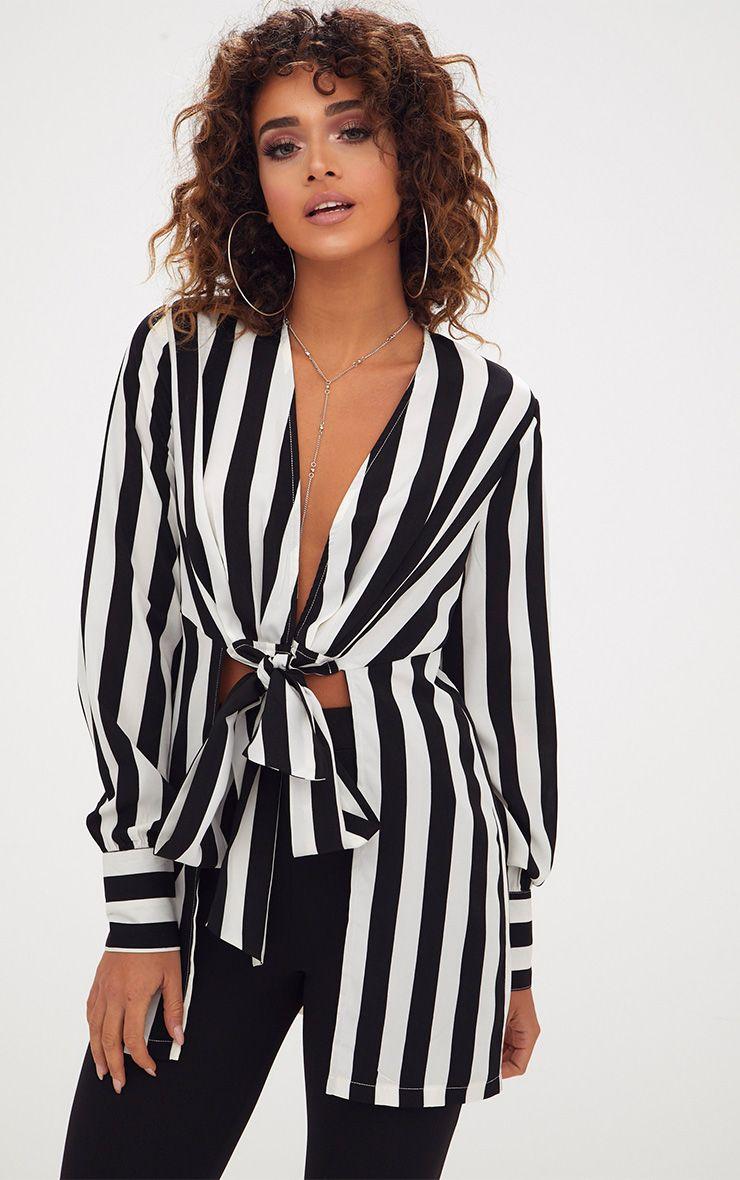 Monochrome Stripe Tie Front Long Blouse