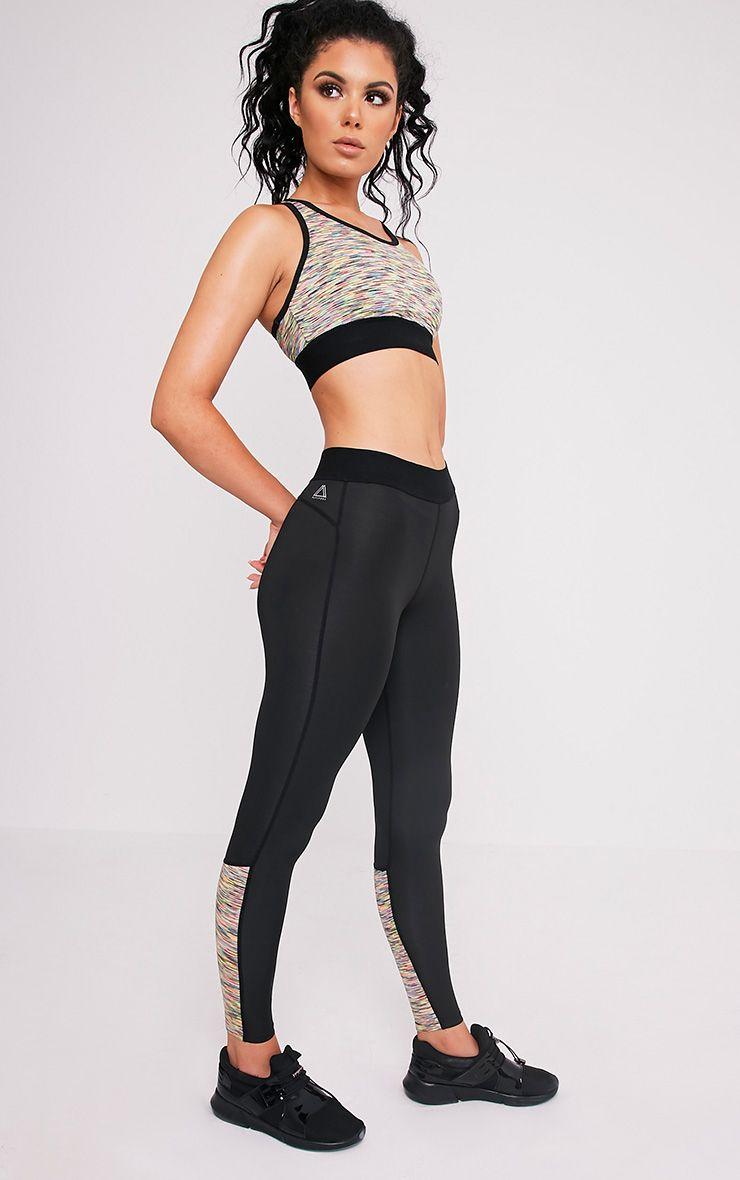 Sindie Mutli Coloured Marl Panelled Gym Leggings