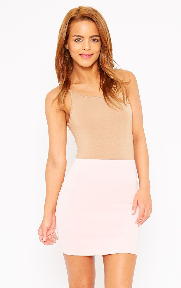Basic Baby Pink Scuba Mini Skirt 1