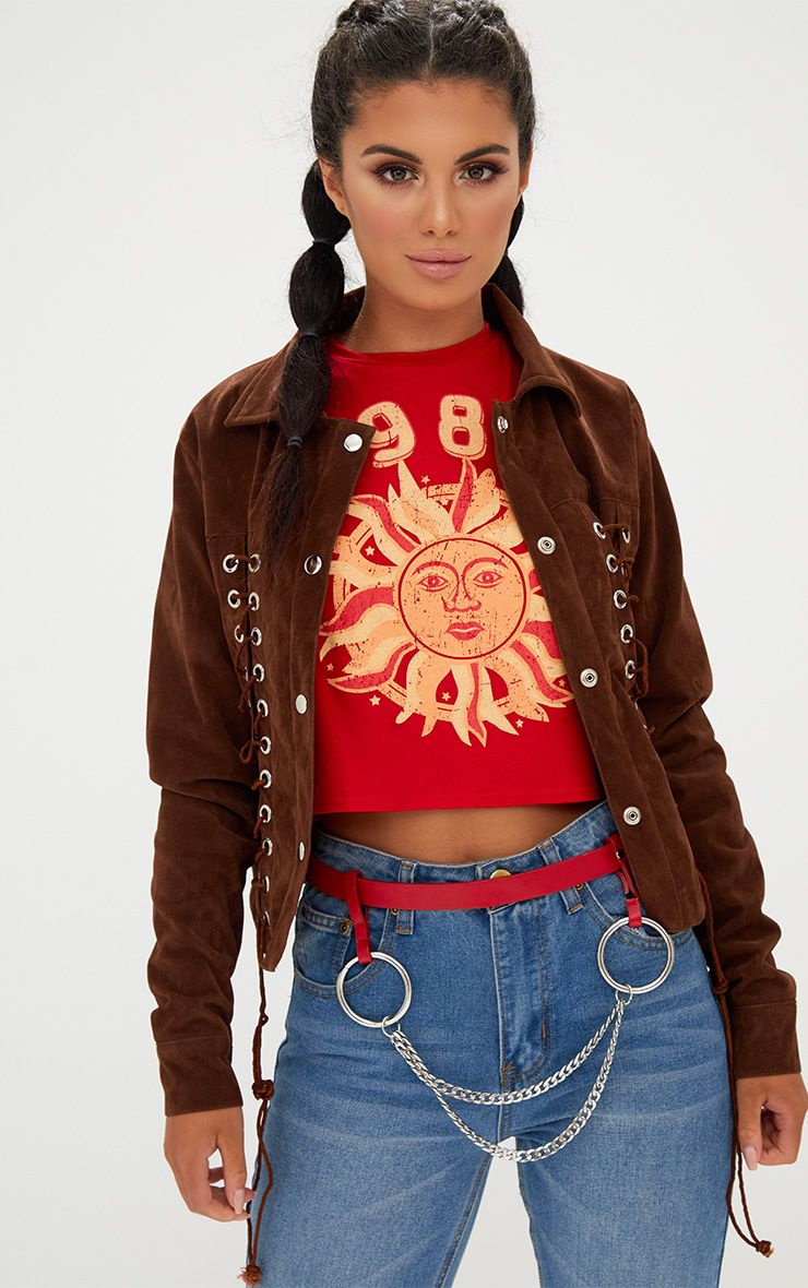 Tan Lace Up Faux Suede Jacket