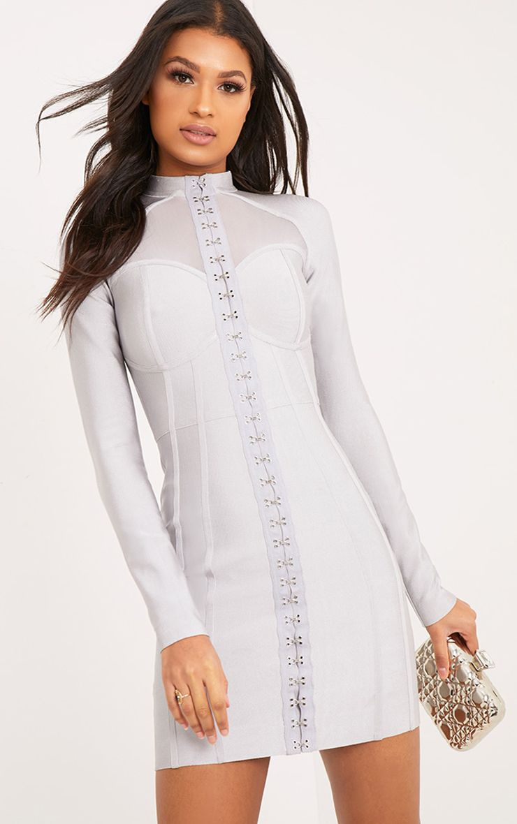 Averie Ice Grey Bandage Eyelet Detail Bodycon Dress