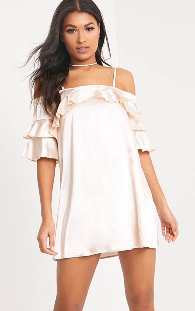 Katy Champagne Satin Cold Shoulder Shift Dress