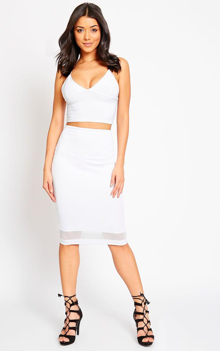 Tameka White Scuba Mesh Midi Skirt 1